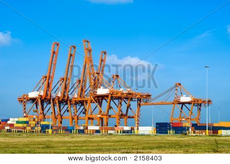 Huge Cranes And Containers