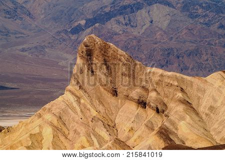The aptly named Manly Beacon as seen from the Zabriskie Point Badlands viewpoint at Death Valley National Park California USA