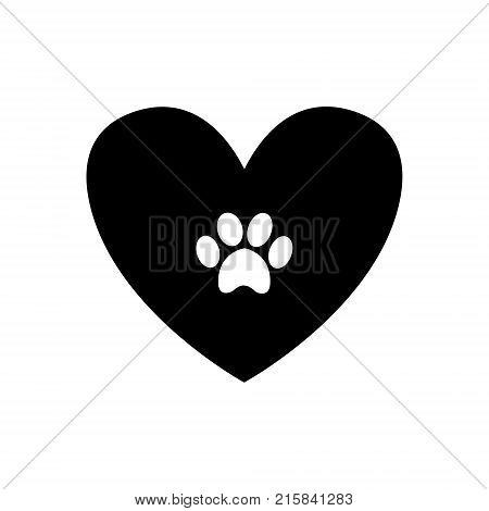 Animal pawprint inside black heart isolated on white background. Black and white vector illustration logo icon.