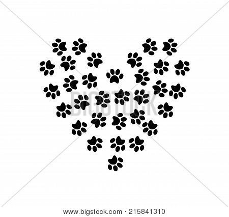 Heart symbol made of pet pawprints isolated on white background.  Vector illustration, symbol, sign, clip art.