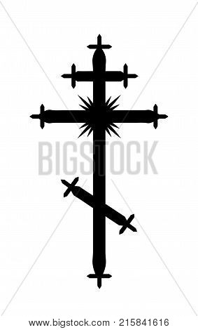 The Greek-Catholic Orthodox eight-pointed Cross. Christian symbol of The Faith, Redemption and Absolution of sins, Resurrection of The Dead, and Everlasting Salvation.