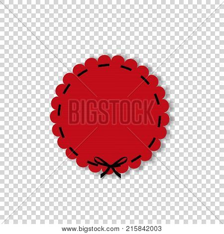 Red round paper cut style label sticker or enblem with black lace and space for text. Circle seal stamp for design isolated on transparent background. Vector illustration template.
