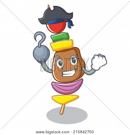 Pirate barbecue character cartoon style vector illustration