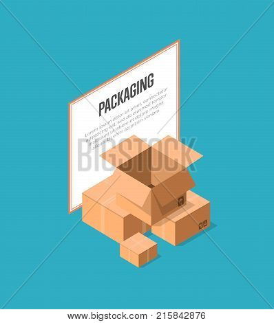 Delivery packaging boxes isometric banner. Postal design with empty opened and closed cardboard boxes vector illustration. Commercial delivery tare, goods package, shipping containers symbol.