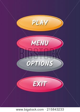Oval options selection windows for user interface. Play, menu, options and exit cartoon buttons. Bright game design isolated vector illustration