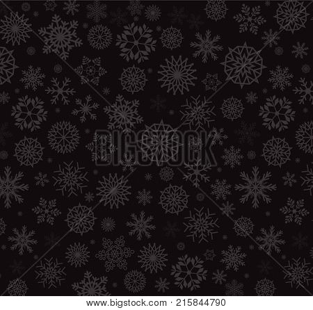 Silver Snow Flakes On Charoal Black Background.