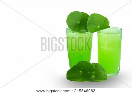Asiatic Pennywort herb juice isolated on whitehealthy food against wood