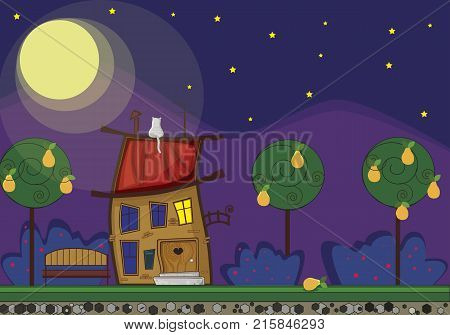 Horizontal illustration of cute cartoon fabulous house with light in window at night time, cat on the roof, bench, bushes and trees in summertime on full moon background.