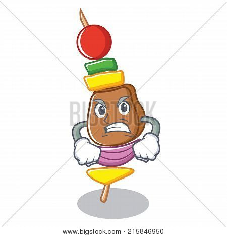 Angry barbecue character cartoon style vector illustration