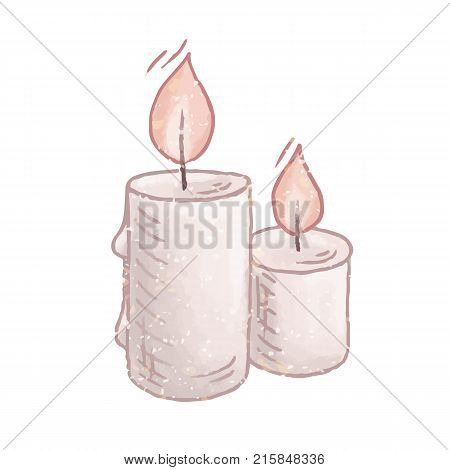Burning candles cartoon vector illustration. Hand drawn flames and wax paraffin. Fire light isolated on a white background.