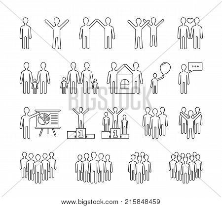 People line icons, family, business, team, sucess concepts, vector eps10 illustration