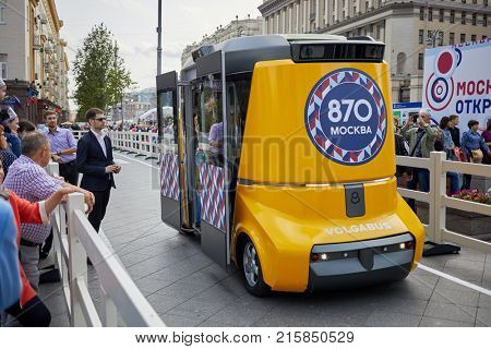 MOSCOW, RUSSIA - SEP 10, 2017: Self-driving electrical bus Matreshka by Volgabus on Tverskaya Street during celebration 870th anniversary of Moscow. It can travel up to 130 km without recharging.