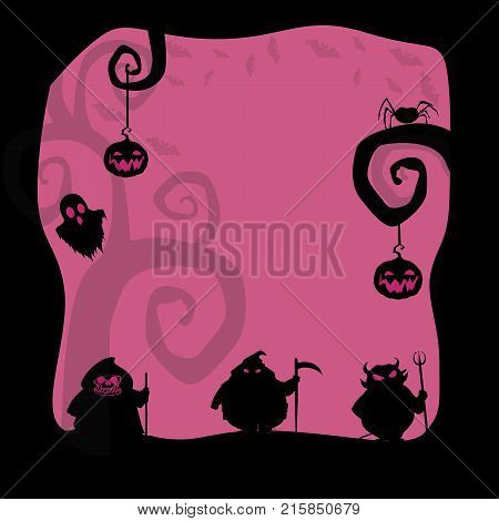 Halloween background. Halloween Card or border for design with pumpkins, ghost, scary characters and space for text. Vector illustration.