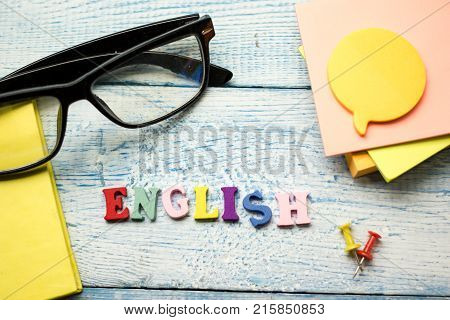 English word composed from colorful abc alphabet block wooden letters, copy space for ad text. Education concept.