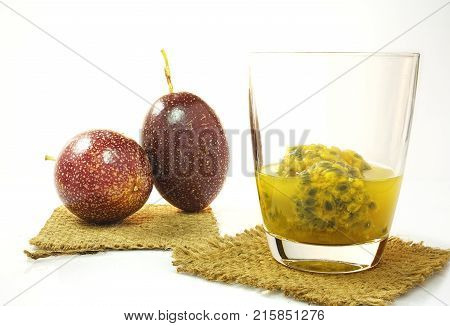 Passion fruit and passion fruit juice.Passion fruit and passion fruit juice.