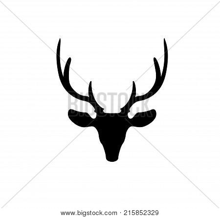 Black silhouette of reindeer head with big horns isolated on white background. Vector illustration, icon, sign, symbol of deer.