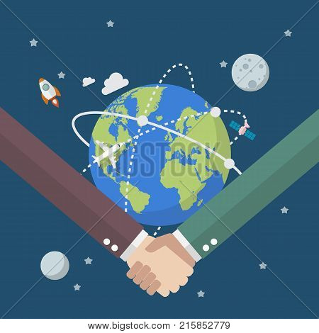Business people shaking hands on globe. Vector illustration