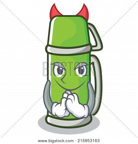 Devil thermos character cartoon style vector illustration