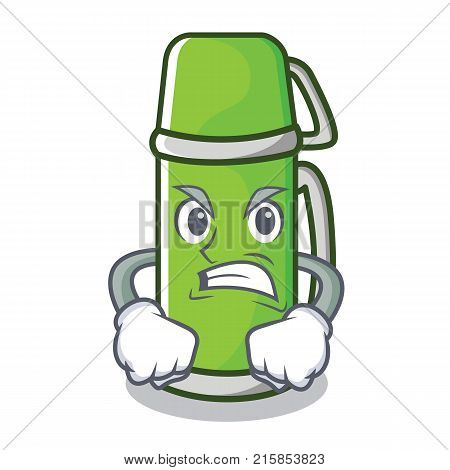 Angry thermos character cartoon style vector illustration