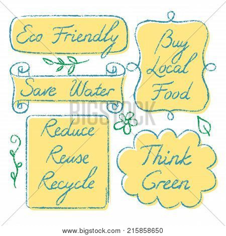 Set of hand drawn ecology lettering - Reduce Reuse Recycle, Save water, Think green, Eco Friendly, Buy Local Food