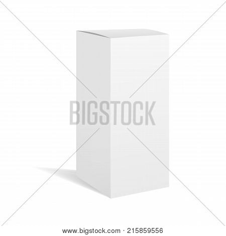 White vector realistic rectangle box package mockup with shadow for your design. Blank rectangular container or cardboard template for cosmetic medicine software appliance products