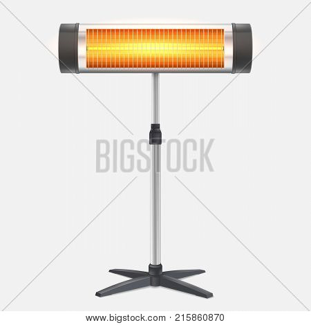 The quartz halogen heater with the glowing lamp. Domestic electric heater standing on chrome metal stand, isolated on white. Appliance for space heating in the interior, 3D illustration.