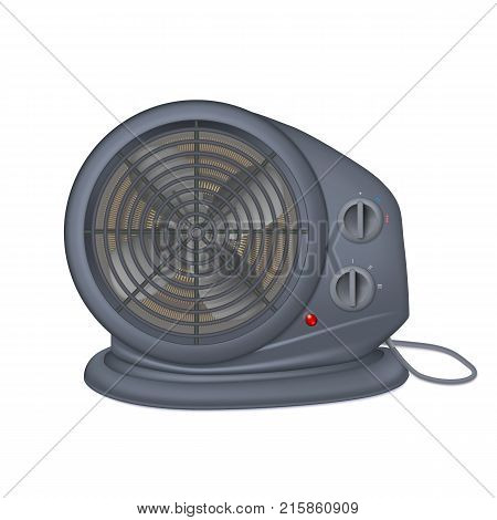 Black electric heater with fan, radiator appliance for space heating. Icon of domestic heater with electric cord. Isolated on white background, 3D illustration
