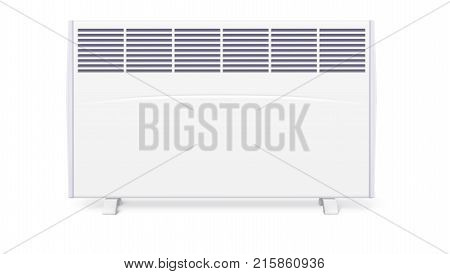 Domestic electric heater, icon of home convector, 3D illustration. Electric panel of radiator appliance for space heating isolated on white background.