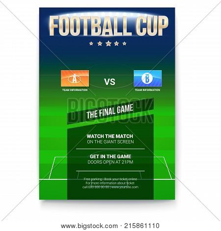 Football or soccer poster with text design. Template for game cup. Green field with flags of participating teams. Sport events design, ready for print. 3D illustration.