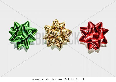 Green Bow, Gold Bow, Red Bow. Christmas Decorations. Objects Isolated On White