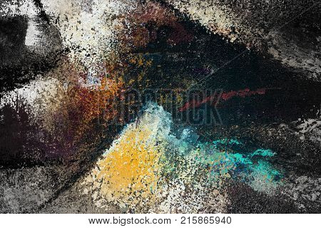 Abstract art background. Oil painting on canvas. Multicolored bright texture. Fragment of artwork. Spots of oil paint. Brushstrokes of paint. Modern art. Contemporary art. illustration arts.