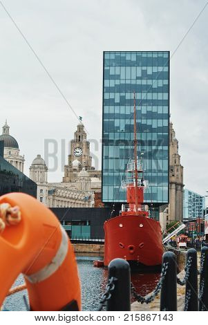 Liverpool, England - August 10, 2013: A Famous Red Bright Bar Ship Docked At Canning Dock, A Complex