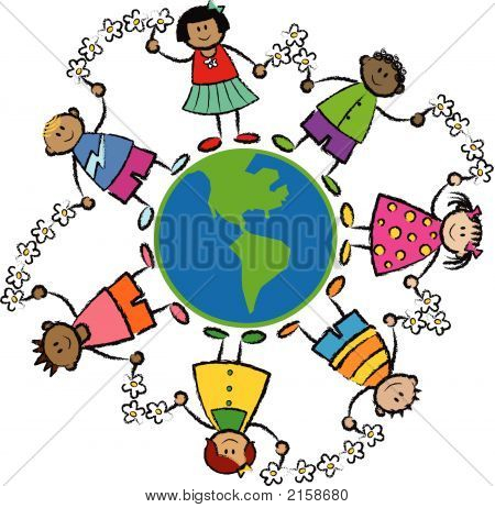 Friends Around The World America (Vector) - Cartoon Illustration Of Multi Racial Kids Linked With Fl