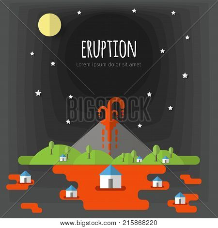 Vector illustration of a volcanic eruption. Beautiful mountain landscape, sky, clouds, stars, village houses. Material flat design with volume elements and shadow.