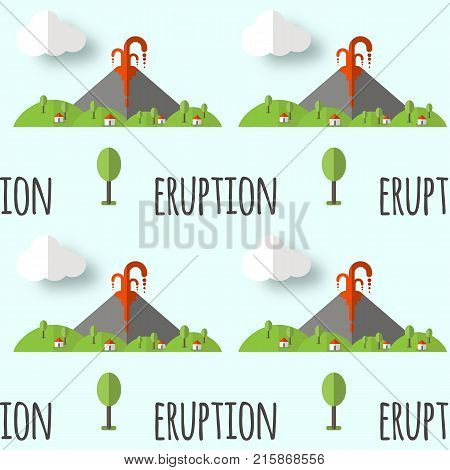 Vector seamless pattern volcanic eruption. Smoke and lava from the crater, the village and trees at the foot. Used for postcards, websites, posters, wallpapers, wrapping paper.
