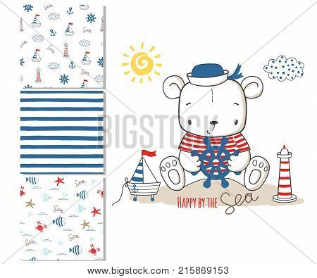 Sailor bear. Surface design and 3 seamless patterns. Graphic for kid's clothing. Use for print design surface design fashion kids wear