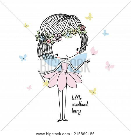 Little forest fairy. Nursery vector illustration. Can be used for kid's clothing. Use for print design surface design fashion kids wear