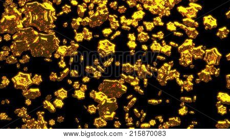 3D illustration of Raining Lots of Big and Chubby Golden Six Branch Stars with a Black Background