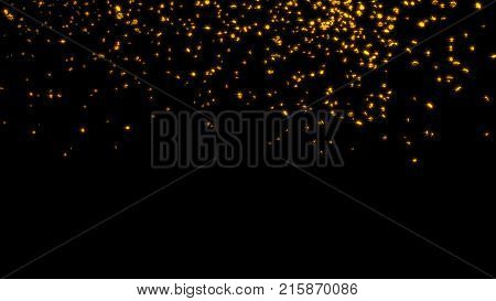 3D illustration of Raining of Chubby and Tiny Golden Six Branchs Stars with a Black Background