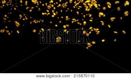 3D illustration of Raining of Chubby Golden Six Branchs Stars with a Black Background