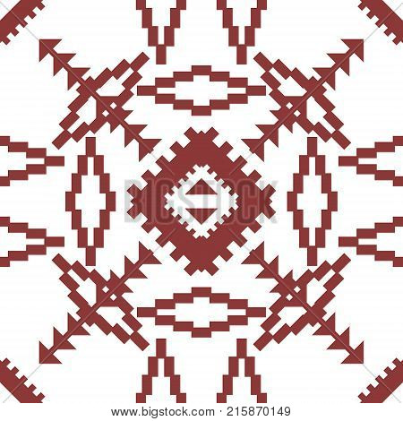 Abstract Seamless Geometric Embroidery Pattern