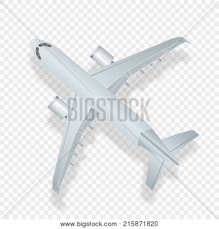 Airplane top view. Vector illustration high detaled airplane. Airline Concept Travel Passenger plane. Jet commercial airplane isolated on checkered background.