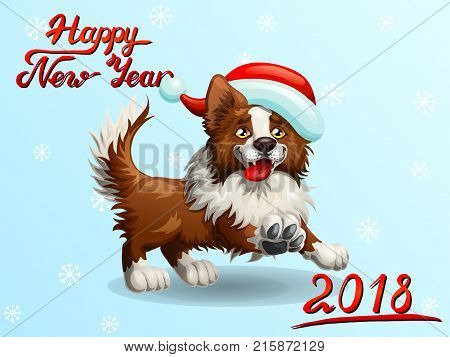 The cheerful brown puppy of a Border Collie wish red cap and letteing Happy New Year 2018. A cartoon vector illustration on blue and snowflakes.