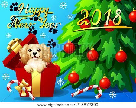Gift card with an inscription of Happy New year 2018, a dog in a box, a fir-tree with jewelry and a Candy cane. A vector illustration in cartoon 3d style.