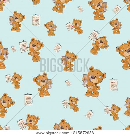 Seamless pattern with cute lonely brown teddy bear bored and waiting, striking out days in the calendar, vector cartoon illustration. Wallpaper print, template for childrens textiles, wrapping paper