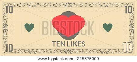 Ten likes fake currency. Souvenir money illustration