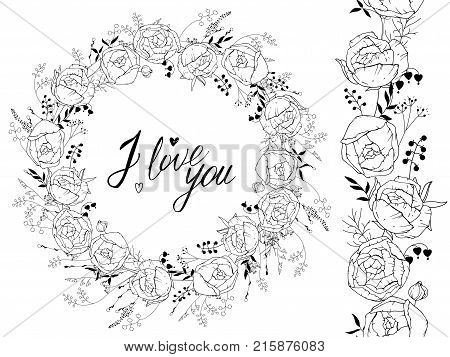 Greeting Template With Round Frame Made Of Ranunculus. Contour Black Flowers And Phrase I Love You