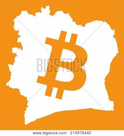 Ivory Coast Map With Bitcoin Crypto Currency Symbol Illustration