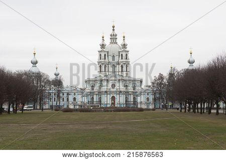 Smolny Convent and Resurrection Cathedral in St. Petersburg, Russia
