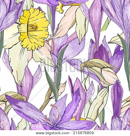 Seamless Season Pattern With Blue Crocuses And Yellow Daffodils. Endless Texture For Floral Summer D